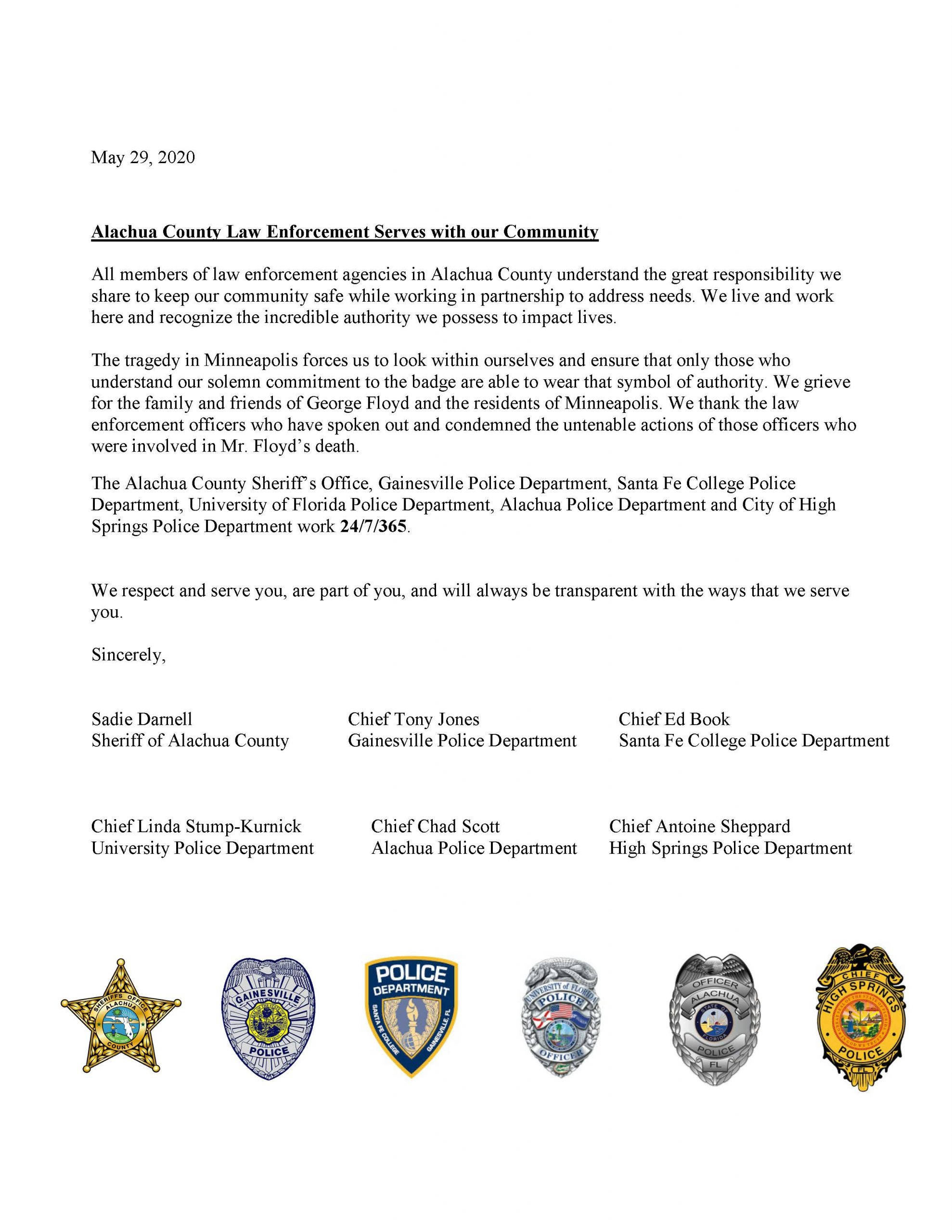 Joint Letter from Agency Police Chiefs and Sheriff for Minneapolis Minnesota Victim George Floyd May 2020